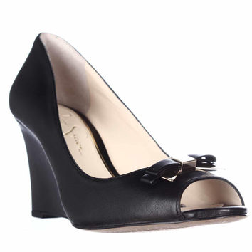 Jessica Simpson Lecia Peep Toe Wedge Pumps - Black