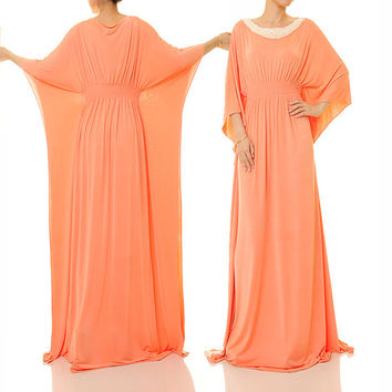 Soft Peach Dubai Kaftan Maxi Dress, Pearl Embellished Boho Abaya Kaftan Dress, Alternative Wedding Dress - Free Size Fits S/M/L (6343)