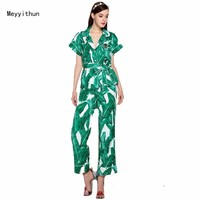 New Arrival  Women's Banana Leaf Printing Beaded Shirt + Trousers Pants Suit 170606ZX03