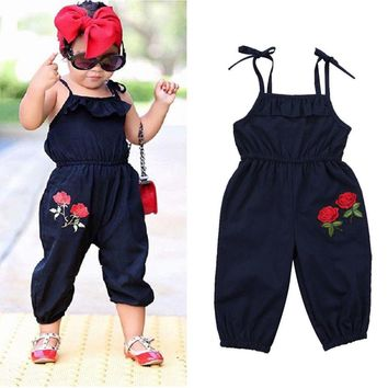US Boutique Flower Kids Toddler Girl Strap Romper Harem Playsuit f0306addcb54