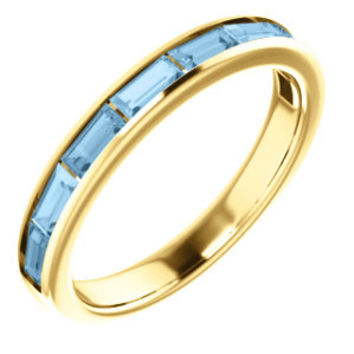 14K White Sky Blue Topaz Ring