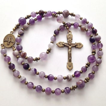 Catholic Rosary, Flower Amethyst Beads, Vintage Style, Antique Gold Crucifix, Holy Spirit Center, Prayer Beads, Religious Gift