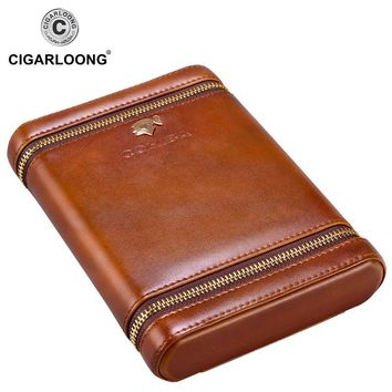 COHIBA Luxury Travel Cigar Case Holder Portable Cedar Wood leather humidor Humidifier Moisturizing free ship CF-0135