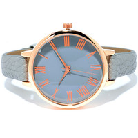 Time Can Tell Rose Gold and Grey Leather Watch