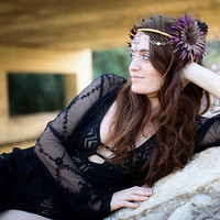 Purple Flower Headpiece, Burning Man Headpiece, Fairy headDress, Boho festival Fantasy Headpiece, Tribal fusion Headpiece Wild Fairy Feather