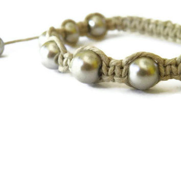 Hemp and pearl macrame bracelet rustic by TheRottenRooster on Etsy
