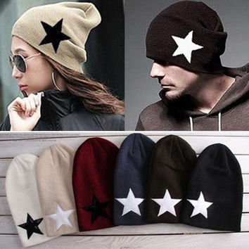 Women Men Pentacle Star Warm Skull Beanie Hip-Hop Knit Cap Ski Crochet Cuff Hat = 1929901636