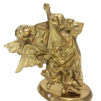 Brass Angel Playing Lute Candle Stick Holder Ornate Aged Gold Decor