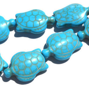 8 Bead Set Magnesite Stone Dyed Turquoise Double Sided Carved Turtle Beads