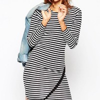 Long Sleeve Asymmetric Hem Bodycon Stripe Dress