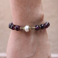 Love, Genuine Garnet Gemstone Mala Bracelet with Tibetan Capped Pearl Guru Bead
