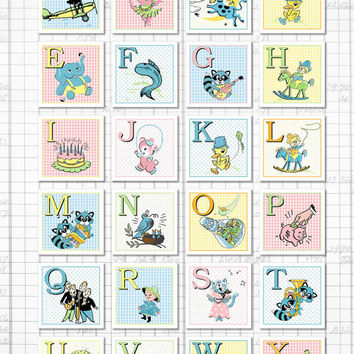 "Digital baby ABC 2"" square flashcards / alphabet flash cards/ downloadable / printable PDF/ 2"" by 2""/ babies, toddlers / gingham, polka dots"