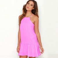 Hot Pink High Neck Spaghetti Strap Drop Waist Mini Dress