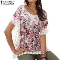 New Fashion Ladies Tops 2016 Women Summer Style Blouse Batwing Short Sleeve Floral Lace Edge Shirts Plus Size 3XL Blusa Feminino