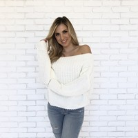 Fall Into You Knit Sweater in Ivory