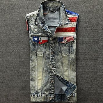 Mens American Flag Denim Vest
