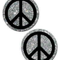 Peace Out Glitter Pasties (Silver)
