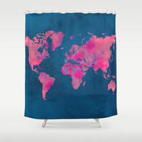 world map art 10 Shower Curtain by Lionmixart