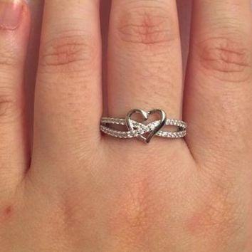 Silver Cubic Zirconia Heart Ring | Promise | Engagement | Wedding
