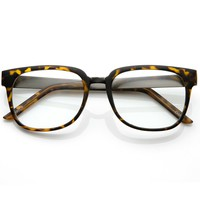 Designer Inspired Clear Lens Horn Rimmed Style Glasses with Metal Arms