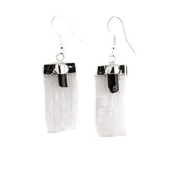 Selenite Blade with Tourmaline Earrings