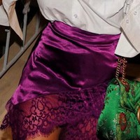 Purple High Waist Lace Panel Asymmetric Hem Mini Skirt