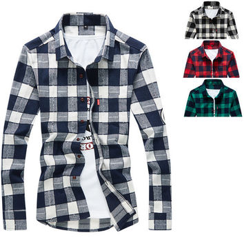 Mens Casual Cotton Plaid Dress Shirt