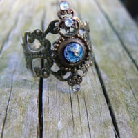 blue galaxy midi ring blue harlequin armor ring knuckle ring nail ring claw ring  vampire goth victorian moon goddess pagan boho gypsy