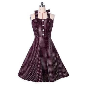 Dower Me 50S 60S Vintage British Style Polka Dot Elegant Sleeveless Summer Halter Cherry Print A-Line Rockabilly Woman Dress