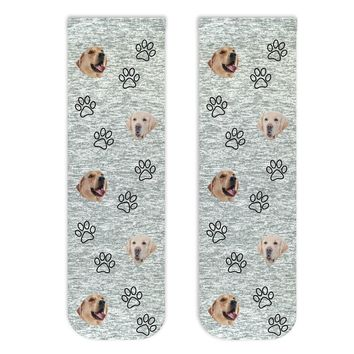 Custom Photo Socks with Your Dog or Cat's Face and All Over Paw Prints Printed on Short Cotton Crew Socks