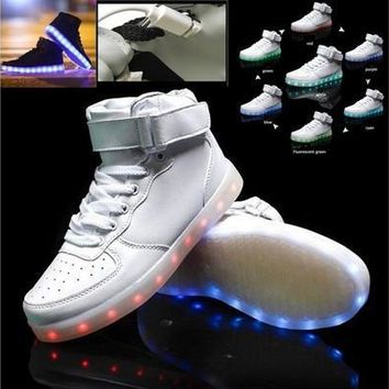 Latest Fashion USB Charge LED lighted High Top Leather Shoes Sneakers / Simulation 7 Colors Noctilucence Shoes / Colorful Nightclub Hip-hop Outdoor Sports shoes / Rainbow Fluorescence Light Casual Shoes [8322982209]