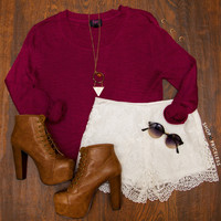 Indie Queen Sweater - Burgundy