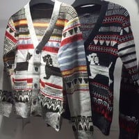 Indie Designs Thom Browne Inspired Dog Intarsia Cardigan