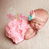 Romper-2 pc Coral Pink Petti Lace Romper and Headband,Baby Romper,Baby Headband,Baby Girl coming home-Lace Romper.Newborn Outfit.