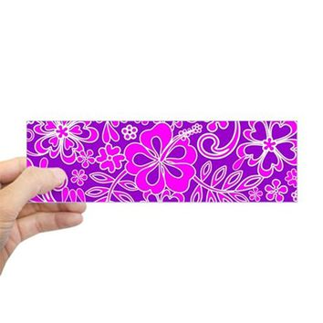 HIBISCUS PINK AND PURPLE PATTERN BUMPER BUMPER STICKER