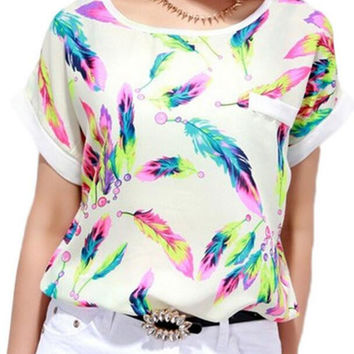 New Summer fashion women O Neck colorful feather short sleeve T-shirt -0627