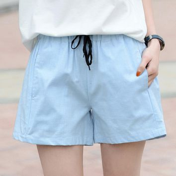 Cotton Shorts De Cintura Alta Para As Mulheres 2018 women Drawstring Summer Solid Shorts Pocket Cotton Linen Shorts Female