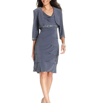 Alex Evenings Petite Beaded Cowl-Neck Dress and Jacket
