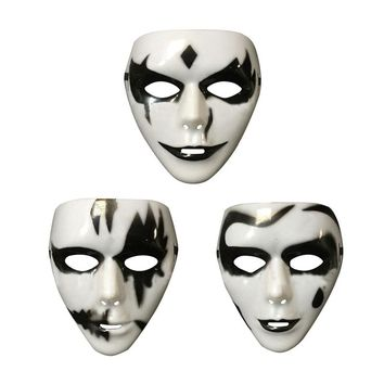 3 Alternatives Plastic Hand-painted White Horror Scary Gothic Mask Props with Adjustable Strap for Halloween Masquerade Costume Cosplay Party
