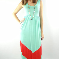 Sleeveless Chevron Maxi Dress - Mint/Coral Red | .H.C.B.