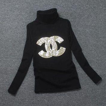 LMFNO Chanel Fashion High-Necked Sequins Long Sleeve Shirt Top Tee