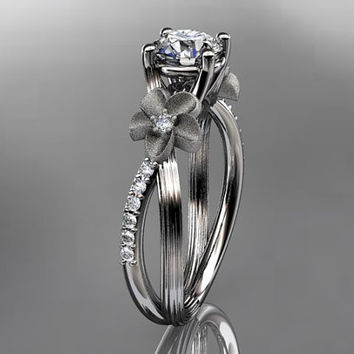 14kt  white gold diamond leaf and vine wedding ring,engagement ring ADLR214