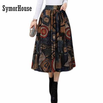Vintage Printed Wool Skirt Women Autumn 2017 High Waist Winter Big Swing Skirt Casual Side Pocket Pleated Long Midi a-line Skirt