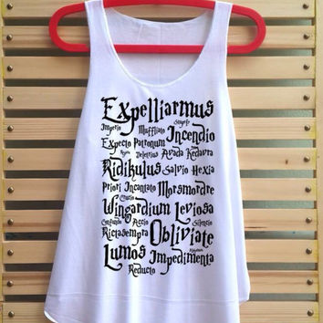 Harry potter magic spell shirt Harry potter shirt tank top Harry Potter clothing vintage vest tee tunic - size S M