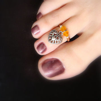 Toe Ring - Heart of Phoenix - Heart Charm - Topaz Crystals - Stretch Bead Toe Ring