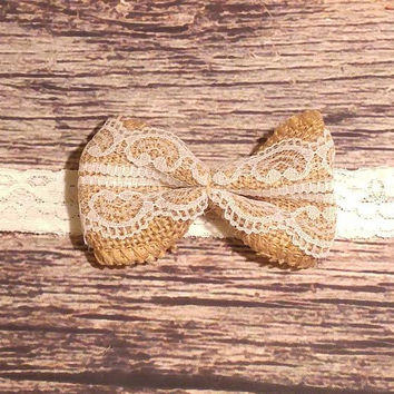 Burlap and Lace Bow Lace Headband