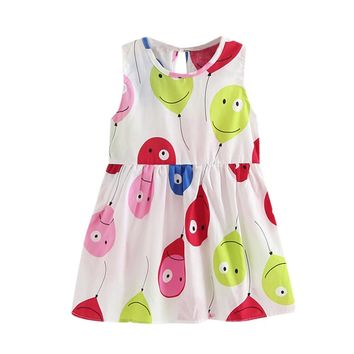 2017 New Design Girls Dress summer cute cartoon Balloon Printing Children Dress Cloth Party Vestidos Infants Dress Dresses