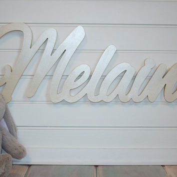 wooden name sign painted Gold Name Plaque Large Personalized nursery name baby name wall hanging nursery decor wooden wall art above a crib