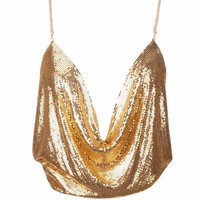 Gold Mesh Backless Top