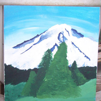 Washington Cascades Mount Rainier Scenic Landscape Painting with Acrylics